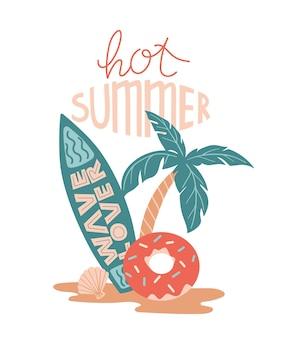 Vector zomer cartoon afbeelding met palm surfplank donutvormige zwemmen cirkel enz