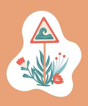 Vector zomer cartoon afbeelding met verkeersbord wit een golf en planten. voor print, poster en kaart.