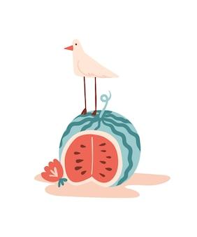 Vector zomer cartoon illustratie met watermeloen zeemeeuw of vogel en bloem