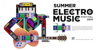 Vector zomer electro muziek festival banner ontwerpsjabloon