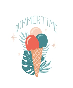 Vector zomer illustratie met ijs monstera blad en belettering summertime