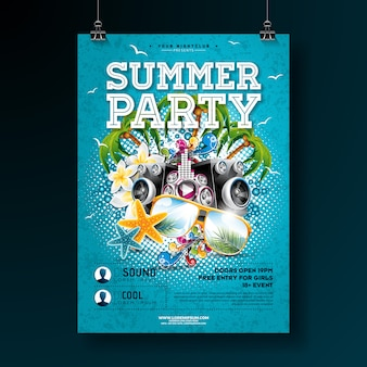 Vector zomer partij poster sjabloonontwerp met bloem en zonnebril