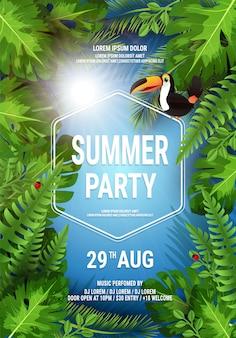 Vector zomer strand partij flyer illustratie