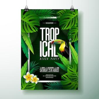 Vector zomer tropisch strand partij flyer ontwerpen