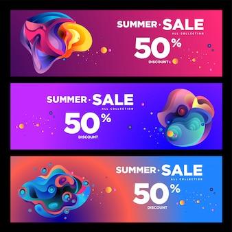 Vector zomer verkoop 50% korting vloeiende kleurrijke banner