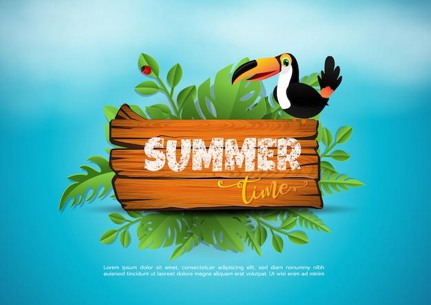 Vector zomertijd vakantie typografische illustratie op vintage hout. tropische planten, bloemen, strandbal, vogel