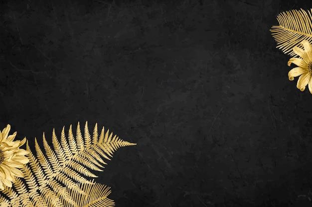 Vector zonnebloem palm blad gouden grenskader op zwarte gestructureerde achtergrond