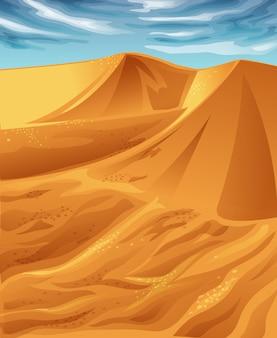 Vector zonnige woestijn en blauwe hemel.