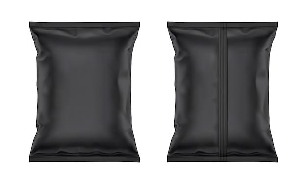 Vector zwart leeg plastic foliezakmodel voor verpakkingsontwerp dat op witte achtergrond wordt geïsoleerd