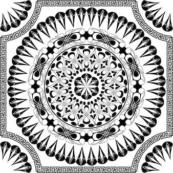 Vector zwart patroon van spiralen, wervelingen en kettingen