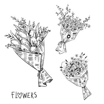 Vector zwart-wit lijntekening van bloemboeketten verpakt in krant