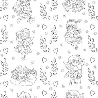 Vector zwart-wit naadloos patroon met kleine feeën op witte achtergrond
