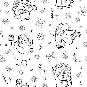 Vector zwart-wit naadloze patroon met kerst pinguïns op witte achtergrond