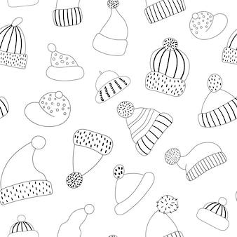 Vector zwart-wit naadloze patroon met schattige hoeden. grappige lijnachtergrond met warme hoofdkleren. herfst of winter accessoire digitaal papier.