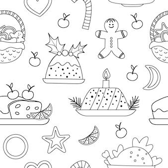 Vector zwart-wit naadloze patroon met traditionele kerst desserts en gerechten. leuke grappige lijn herhalende achtergrond nieuwjaarsmaaltijd. digitaal papier met wintervoedsel.
