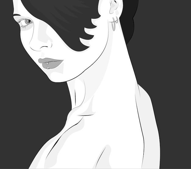 Vector zwart-wit portret van een jong mooi meisje in vlakke stijl