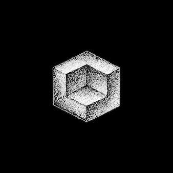 Vector zwart-wit witte retro stip kunst hand getrokken kubieke geometrische volumetrische blackwork ontwerp element vintage tattoo stijl decoratie geïsoleerde vorm illustratie zwarte achtergrond