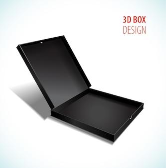 Vector zwarte dunne doos met open deksel