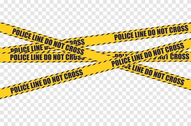 Vector zwarte en gele grens van de politiestreep. gevaar let op naadloze tapes. art design misdaadlijn voor restricties en gevaarlijke zones.