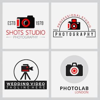 Vector zwarte en rode pictogrammen voor fotografen 4