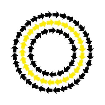Vector zwarte gele pijlen rond frame. abstracte repetitieve ornament cirkel grens..