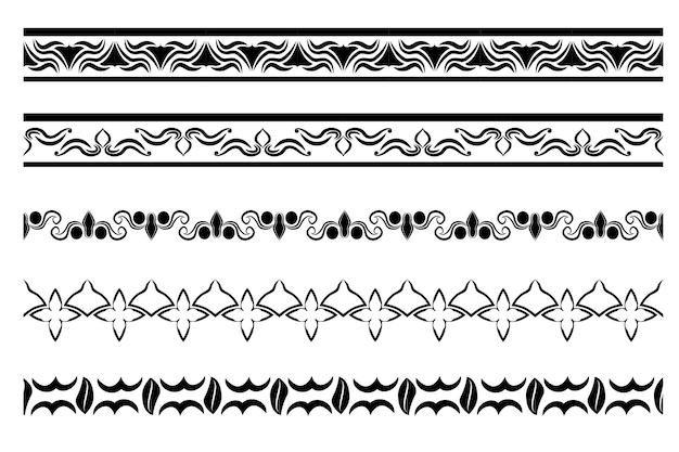 Vector zwarte horizontale bloemenrand voor uw elementontwerp, geïsoleerd op wit