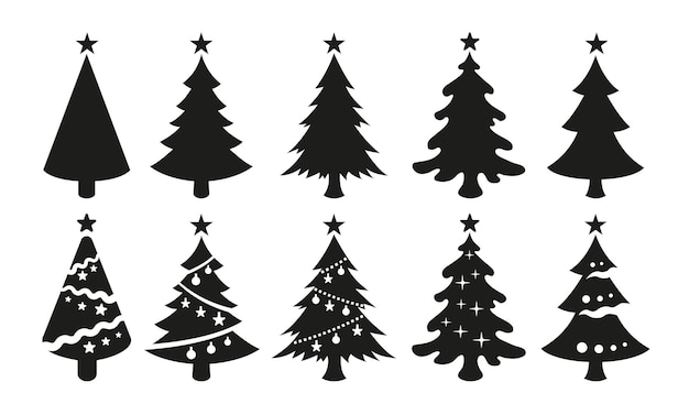 Vector zwarte iconen van kerstbomen geïsoleerd op een witte achtergrond. zwarte silhouetten van kerstbomen met sterren aan de bovenkant.
