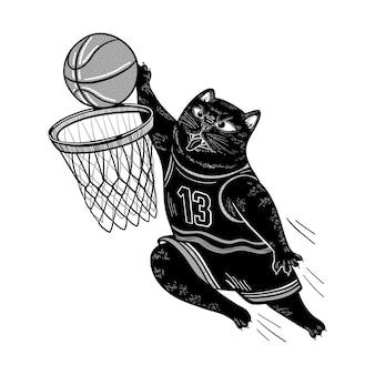 Vector zwarte kat die basketbal speelt de kat gooit de bal in de mand