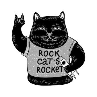 Vector zwarte kat met raket grappige kat rocker houdt van muziek en kosmos