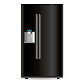 Vector zwarte koelkast geïsoleerd