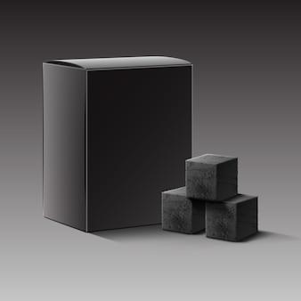 Vector zwarte lege kartonnen doos met houtskool blokjes voor waterpijp pijp geïsoleerd op donkere achtergrond
