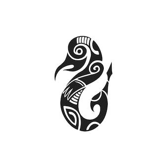 Vector zwarte monochroom inkt hand getrokken inheemse polynesische volkskunst symbool mythologisch wezen taniwha illustratie geïsoleerde witte background