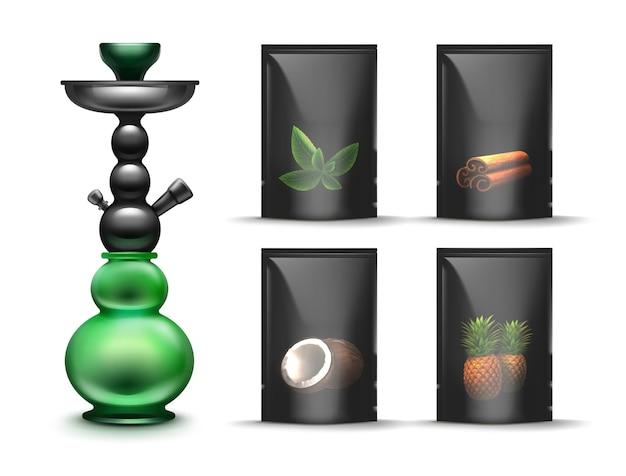 Vector zwarte verzegelde shisha tabak packs met munt, kaneel, kokos, ananas waterpijp smaken vooraanzicht geïsoleerd op een witte achtergrond