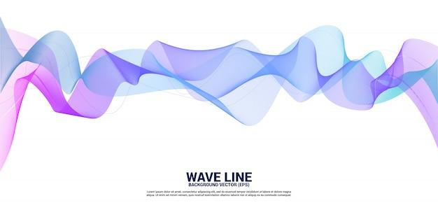 Vector3481paarse en blauwe geluidsgolflijnkromme op witte achtergrond. element voor de futuristische vector van de thematechnologie