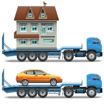 Vectoraanhangwagen met huis en auto die op witte achtergrond wordt geïsoleerd