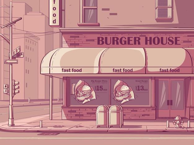 Vectorachtergrond burger house in new york, de v.s. afbeelding van fastfoodcafé in roze kleur.