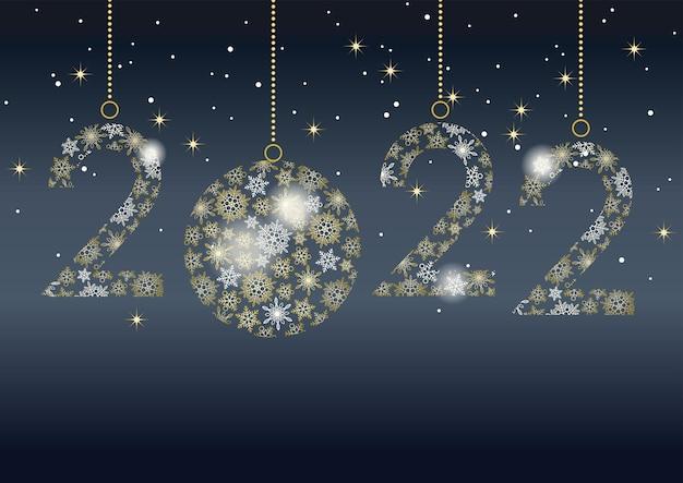 Vectorachtergrond met een decoratief logo dat bestaat uit sneeuwvlokken die het jaar 2022 vieren