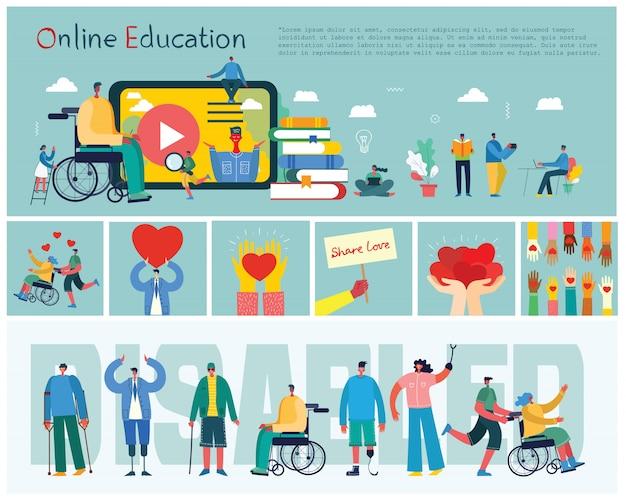 Vectorachtergrond met gehandicapten, jonge handycap personen en vrienden die dichtbij helpen. werelddag voor mensen met een handicap. platte stripfiguren.