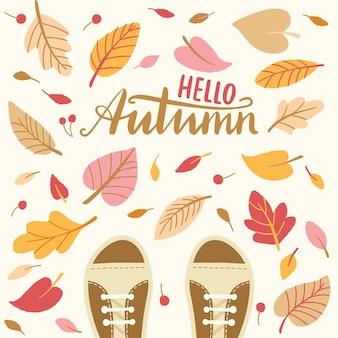 Vectorachtergrond met herfstbladeren en laarzen Premium Vector