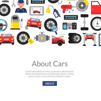 Vectorachtergrond met vlakke de dienstelementen van de stijlauto en plaats voor tekstillustratie
