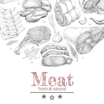 Vectorachtergrond met vleesproducten