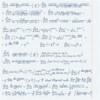Vectorachtergrond met witte wiskundige symbolen op een schoolbord