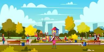 Vectorachtergrond van beeldverhaalspeelplaats in park met mensen, kinderen het spelen