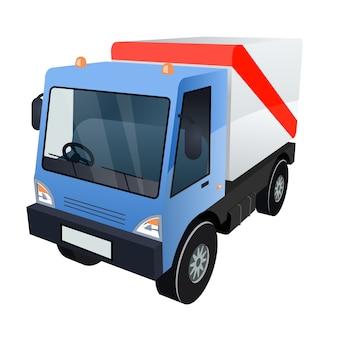 Vectorafbeelding van blauwe vrachtvrachtwagen met rode streep