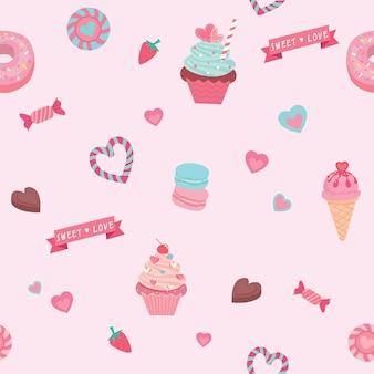 Vectorafbeelding van de verschillende snoepjes en desserts ingericht in naadloze patroon.