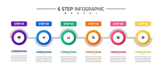 Vectorafbeelding van ontwerpsjablonen voor infographic elementen met pictogrammen en 6 stappen