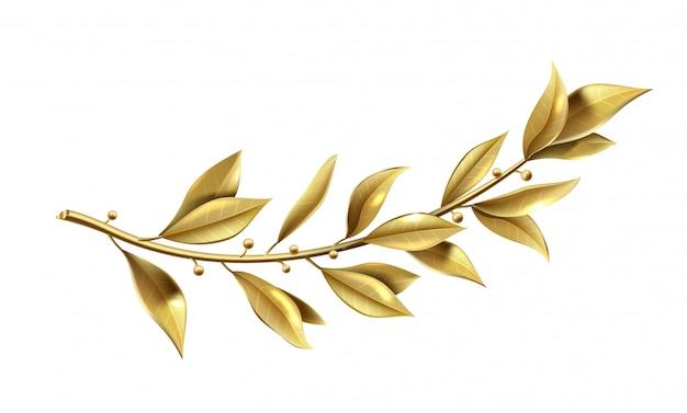 Vectorafbeeldingen. gouden lauriertak maakt deel uit van de winnaarskrans.