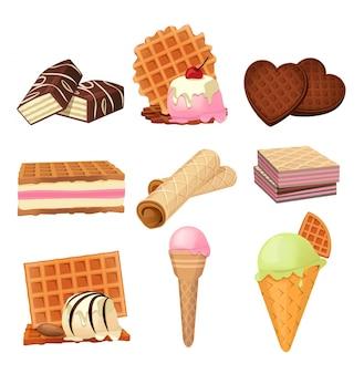Vectorafbeeldingen set van vaffel dessert met slagroom. illustraties isoleren op wit