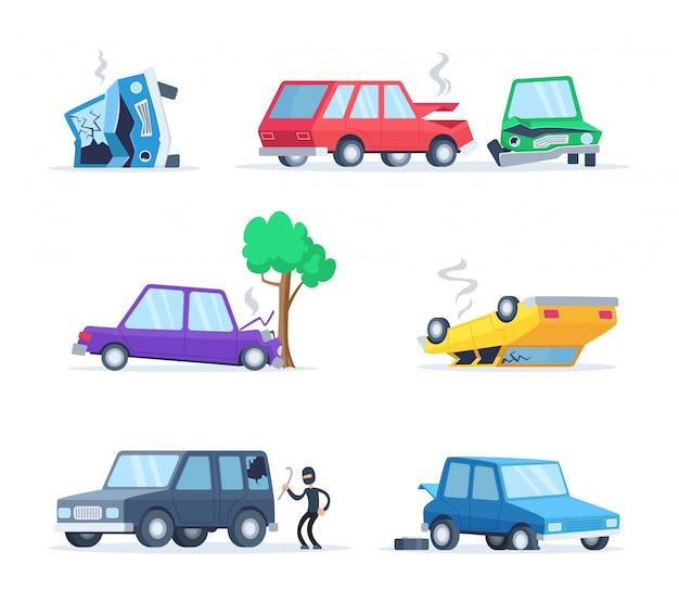 Vectorafbeeldingen set van verschillende ongevallen op de weg. grote schade aan auto's