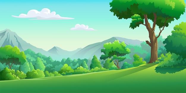 Vectorafbeeldingen van het bos overdag